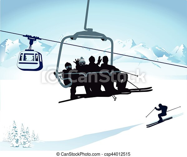 Im Sessellift Eps Skiing And Chairlift In Winter