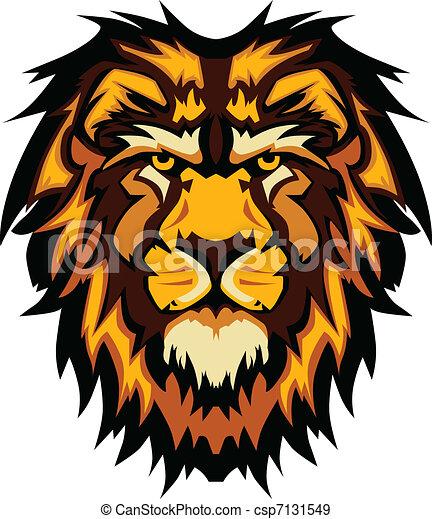 ima, testa, grafico, leone, vettore, mascotte - csp7131549