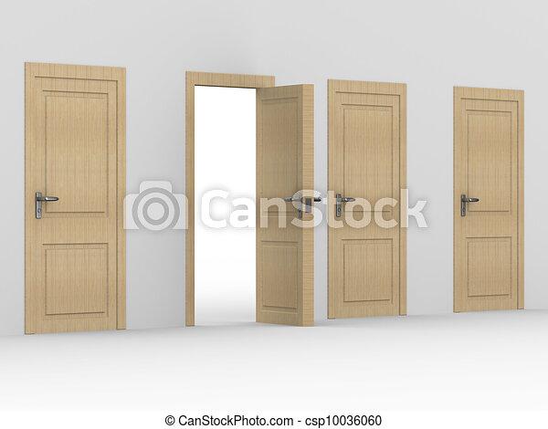 Image., Bois, Door., Intérieur, Maison, Ouvert, 3d