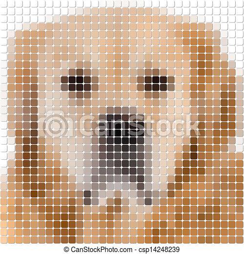 Image Carrée Arrondi Chien Pixel