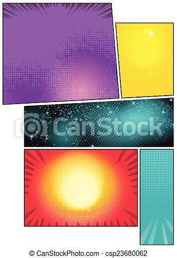 Image comic book pages with different background comic strips - csp23680062
