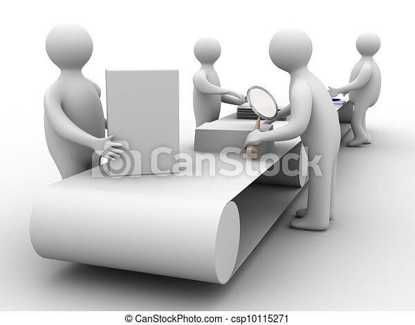 Trabaja en el transportador. Imagen 3D. ilustraciones aisladas - csp10115271