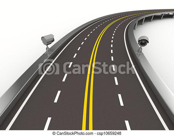 Image isol appareil photo white asphalted route 3d - Dessin de route ...