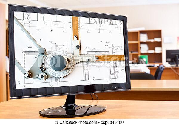 image, modèles, moniteur, écran, ordinateur bureau, planche, dessin - csp8846180