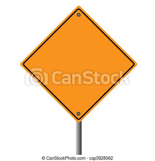 Image of a blank orange road sign. - csp3928062