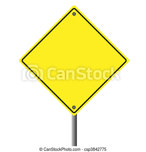 Image of a blank yellow sign on a white background. - csp3842775