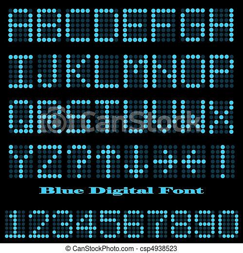 Image of a blue digital font on a dark background. - csp4938523