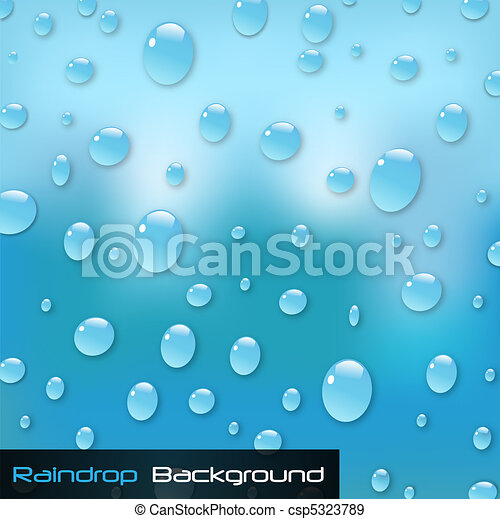 Image of a colorful blue raindrop background. - csp5323789