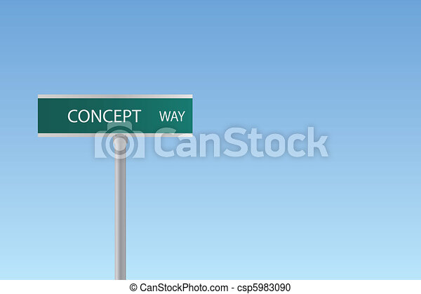 "Image of a ""Concept Way"" sign on a colorful blue sky background. - csp5983090"