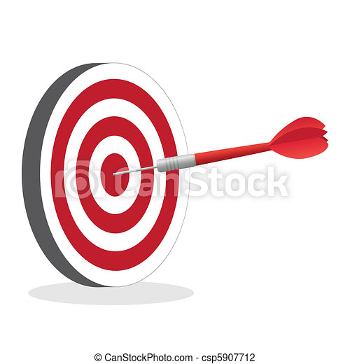 Image of a dart hitting a bullseye target isolated on a white background. - csp5907712