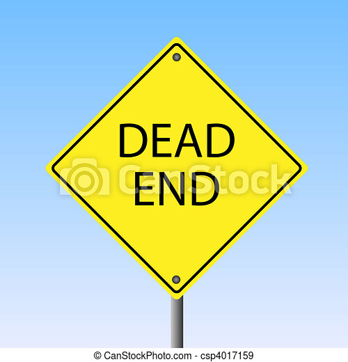 """Image of a """"Dead End"""" yellow sign. - csp4017159"""