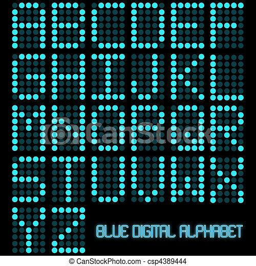 Image of a digital blue alphabet on a dark background. - csp4389444