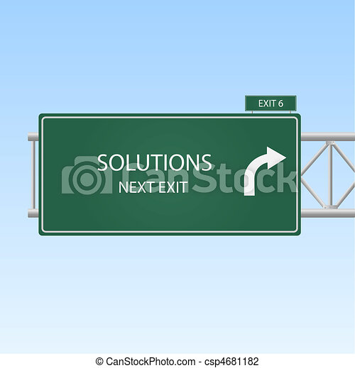 """Image of a highway sign with an exit to """"Solutions"""". - csp4681182"""