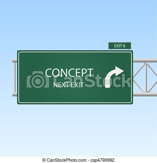 """Image of a highway sign with an exit to """"Concept"""". - csp4790992"""