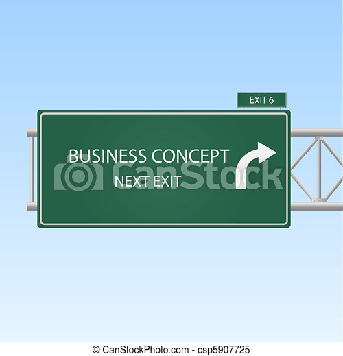 "Image of a highway sign with an exit to ""Business Concept"" with a blue sky background. - csp5907725"
