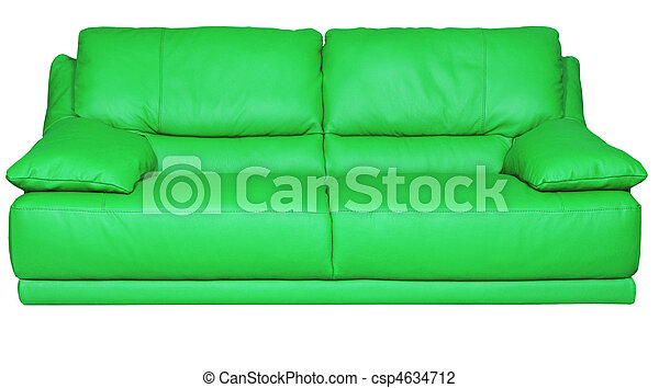 Image of a modern green leather sofa over white background