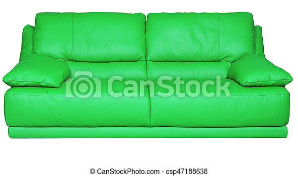 Brilliant Image Of A Modern Green Leather Sofa Over White Background Machost Co Dining Chair Design Ideas Machostcouk