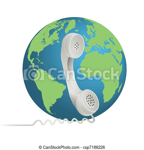 Image of a phone illustration with the earth isolated on a white background. - csp7186226