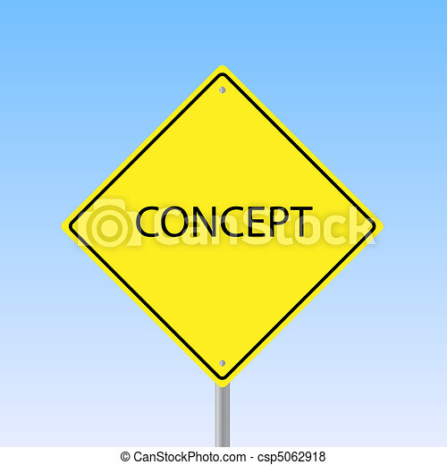 "Image of a road sign with the word ""Concept"" with a sky background. - csp5062918"