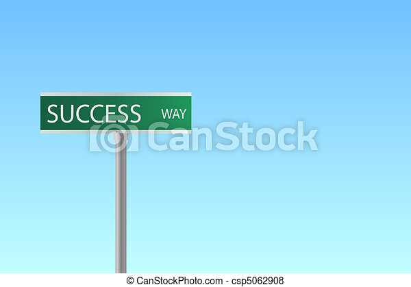 """Image of a street sign to """"Success Way"""" with a blue sky background. - csp5062908"""
