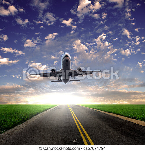 Image of a white passenger plane - csp7674794