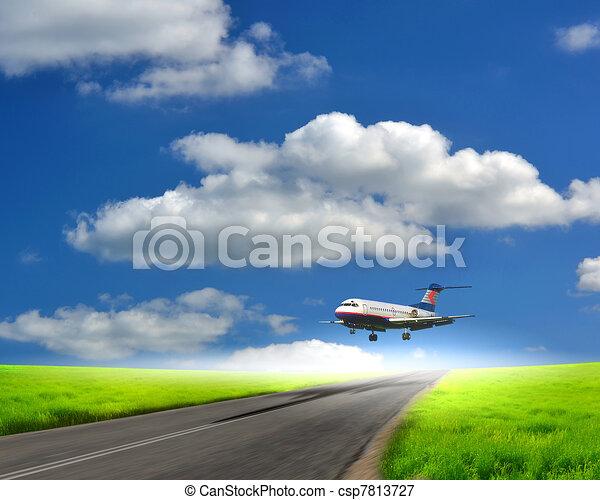 Image of a white passenger plane - csp7813727