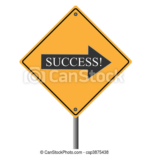 """Image of a yellow road sign pointing to """"success"""". - csp3875438"""