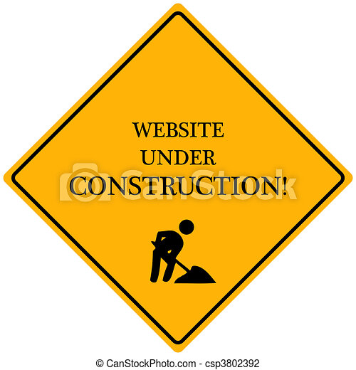 """Image of a yellow sign reading """"Website Under Construction"""". - csp3802392"""