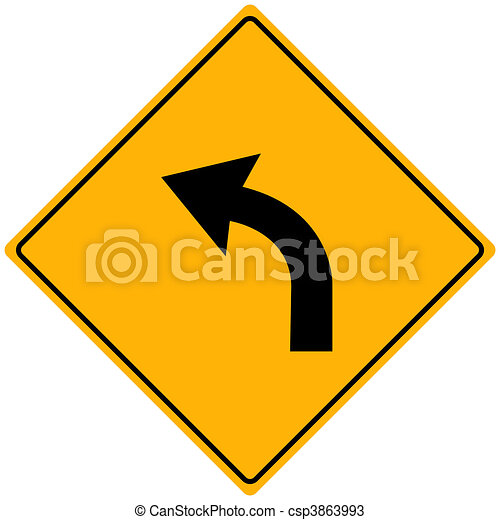 Image of a yellow sign with a curved arrow. - csp3863993