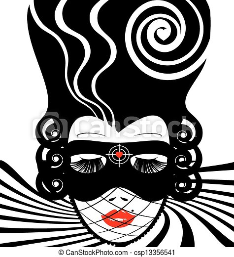 image of an dame in mask-target - csp13356541