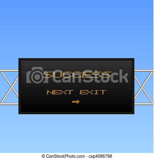 """Image of an electronic highway sign with the message pointing to """"Success"""". - csp4086798"""