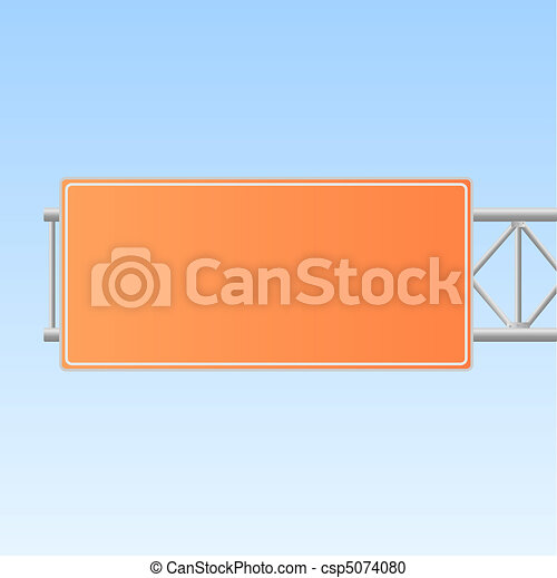 Image of an orange highway sign isolated on a blue sky background. - csp5074080