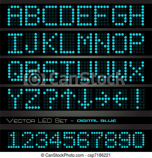 Image of blue digital alphabetic and numeric characters on a dark background. - csp7186221
