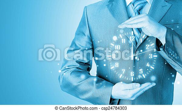 Image of businessman holding clock against illustration background - csp24784303