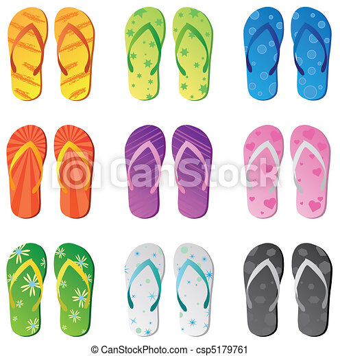 Image of colorful flip flops isolated on a white background. - csp5179761