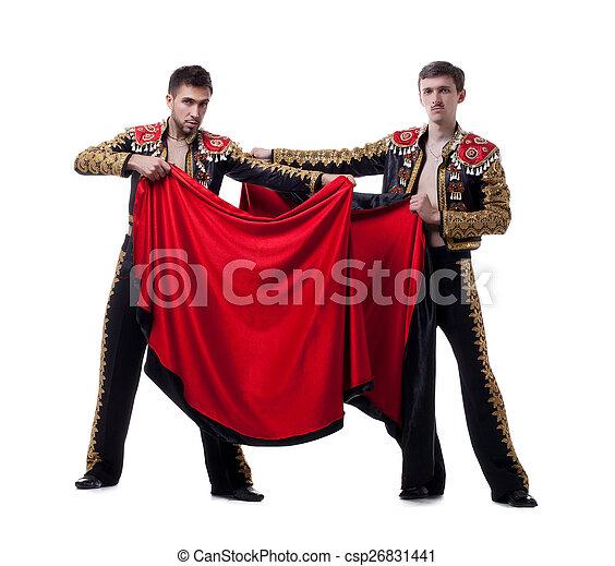 Image of cute guys posing dressed as toreadors - csp26831441