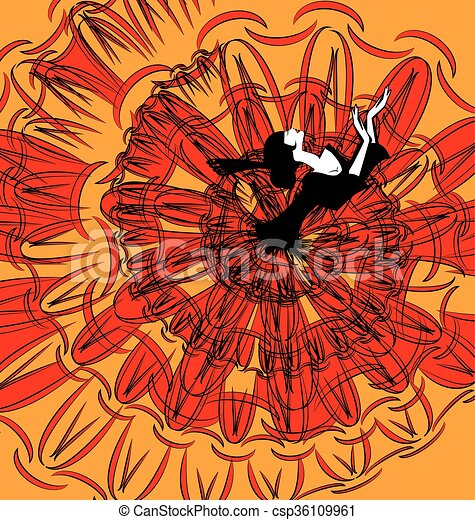 image of dancer in black-red - csp36109961