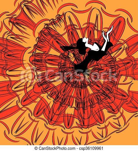 image of dancer in black-red - csp36109961
