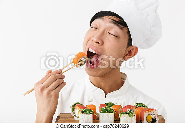 Image Of Funny Chinese Chief Man In White Cook Uniform Holding Plate And Eating Sushi Set With Chopsticks Isolated Over White Canstock