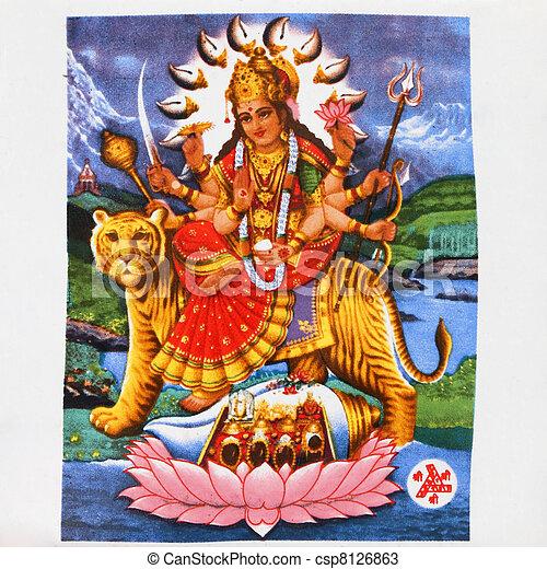image of hindu goddess Durga - csp8126863