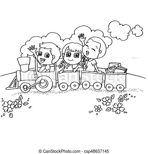 Image Of Little Boy And Friend Driving A Toy Train Coloring Page Vector