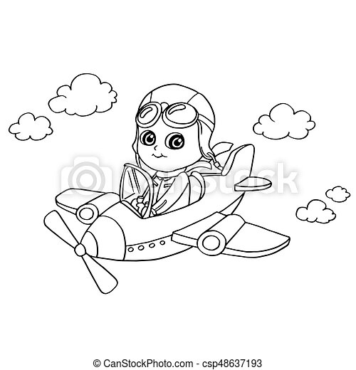 Image Of Little Boy Flying In A Toy Plane Coloring Page Vector