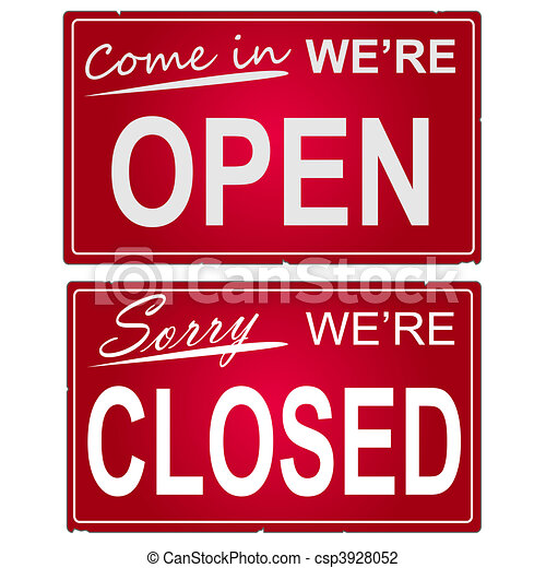 "Image of ""open\"" and \""closed\"" business signs. - csp3928052"