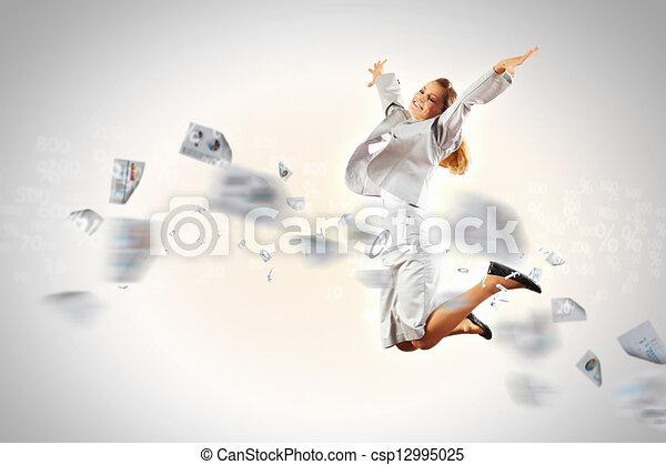Image of running businesswoman - csp12995025