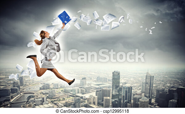Image of running businesswoman - csp12995118