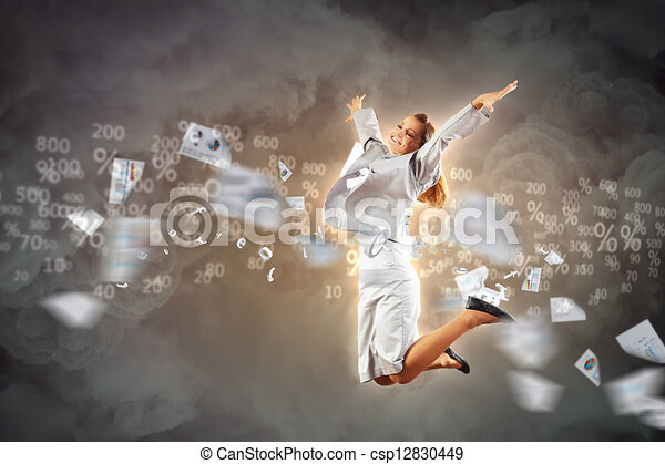 Image of running businesswoman - csp12830449