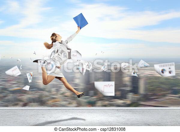 Image of running businesswoman - csp12831008