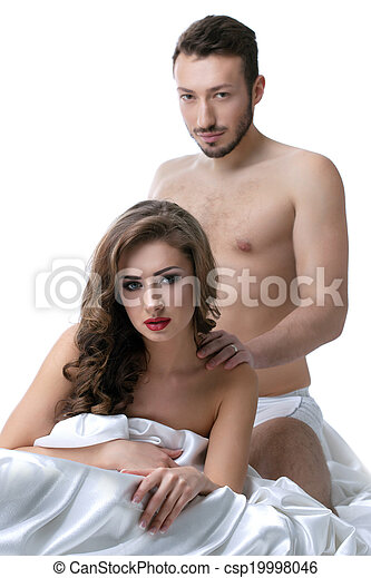 Image of sensual young lovers posing in bed - csp19998046