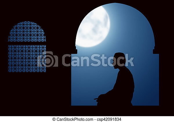 Image of silhouette man praying - csp42091834