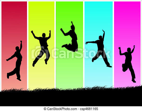 Image of silhouettes jumping on a colorful background. - csp4681165